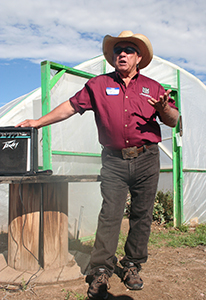 Del Jimenez Speaking at Field Day 2016 in Front of Hoop House